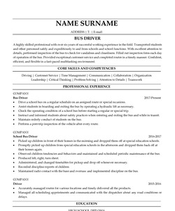Resume Example for Bus Driver
