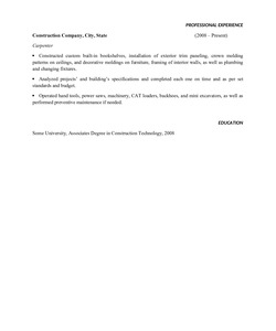 Resume Example for Carpenter