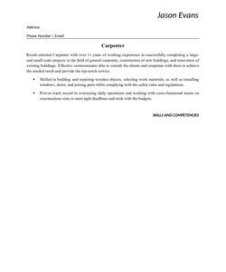 Resume Example for Carpenter