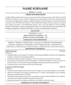Resume for Child Psychologist