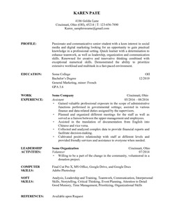 Resume Example for College student