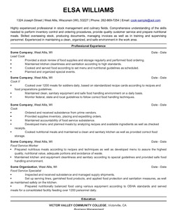 Resume Example for Cook