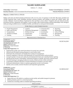 Resume Example for Correctional Officer