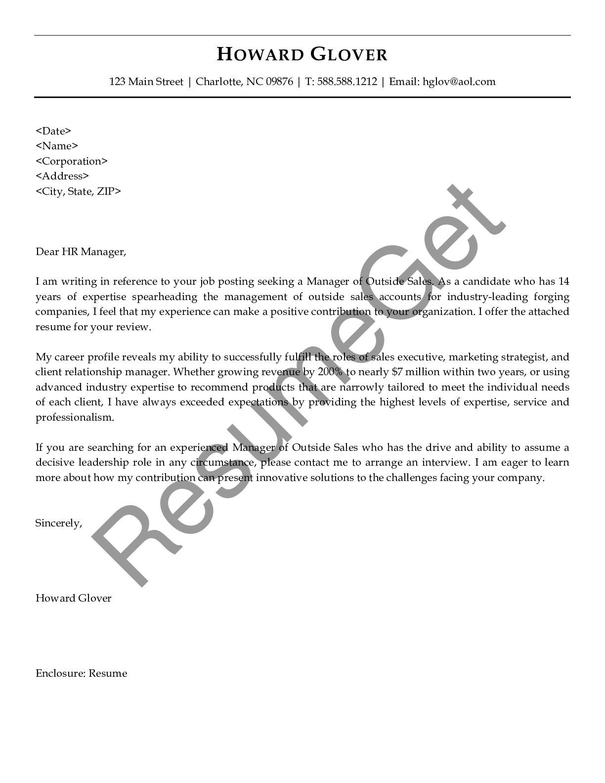 Cover Letter for Manager of Outside Sales