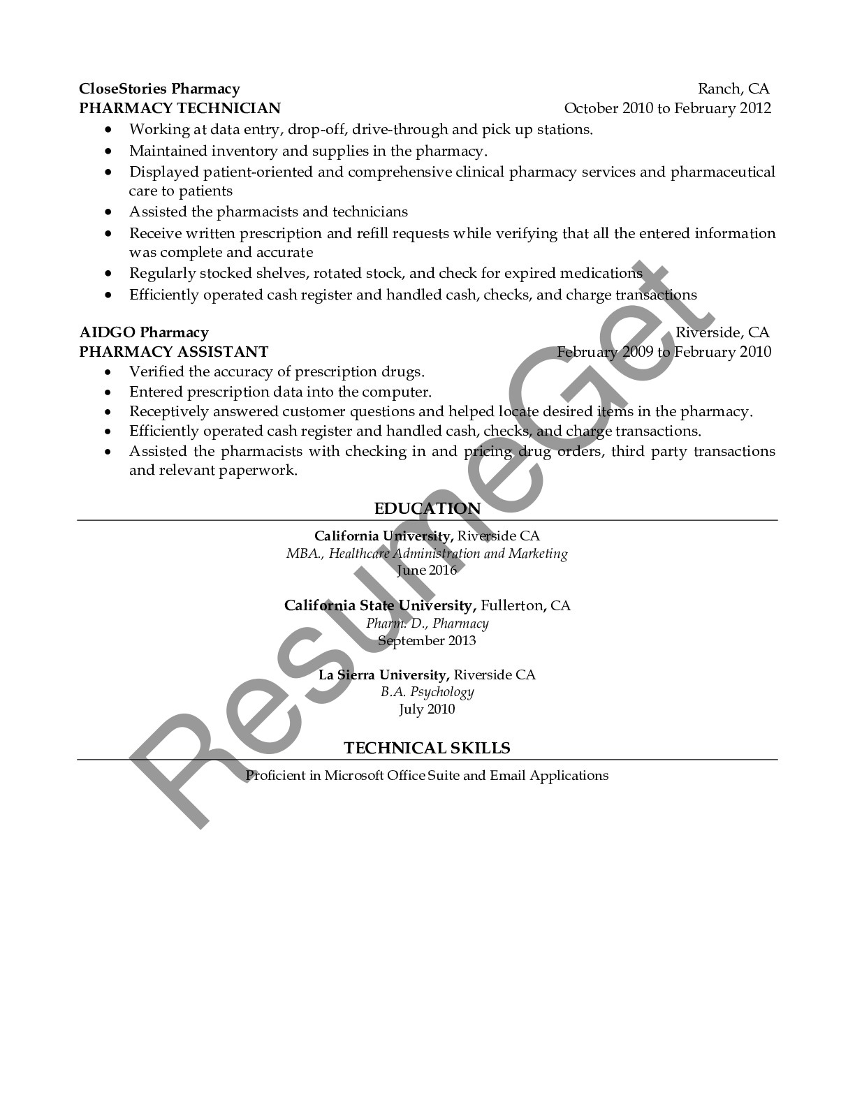 CV Example for Account Specialist