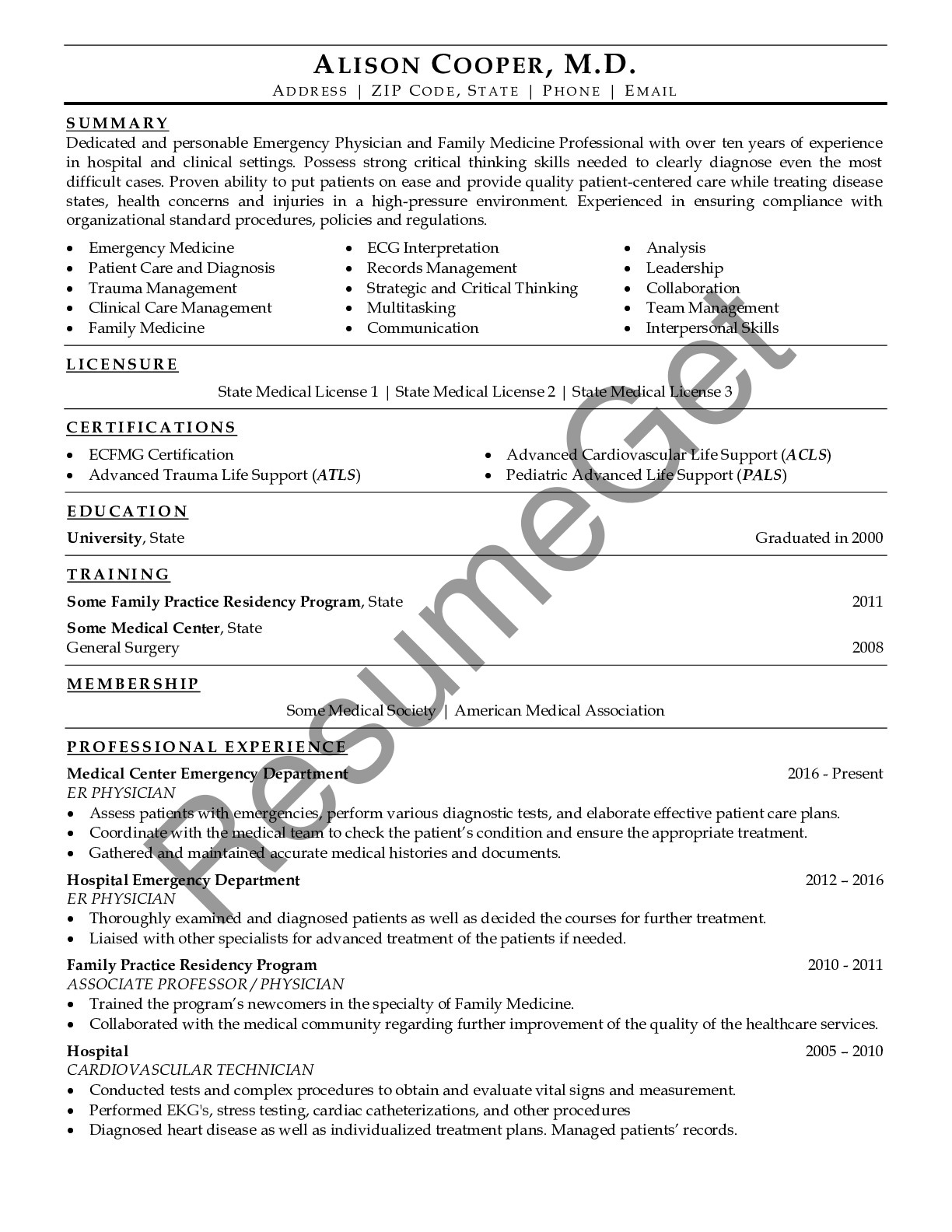 CV Example for Doctor