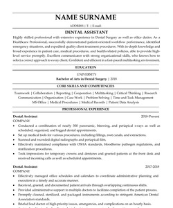 Resume for Dental Assistant