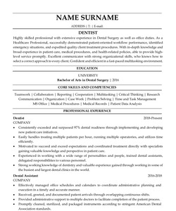 Resume for Dentist