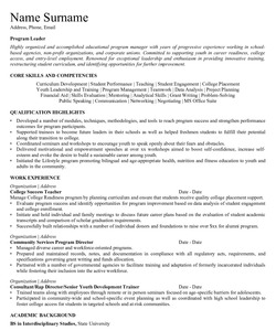 Resume for Educaltional Program Leader