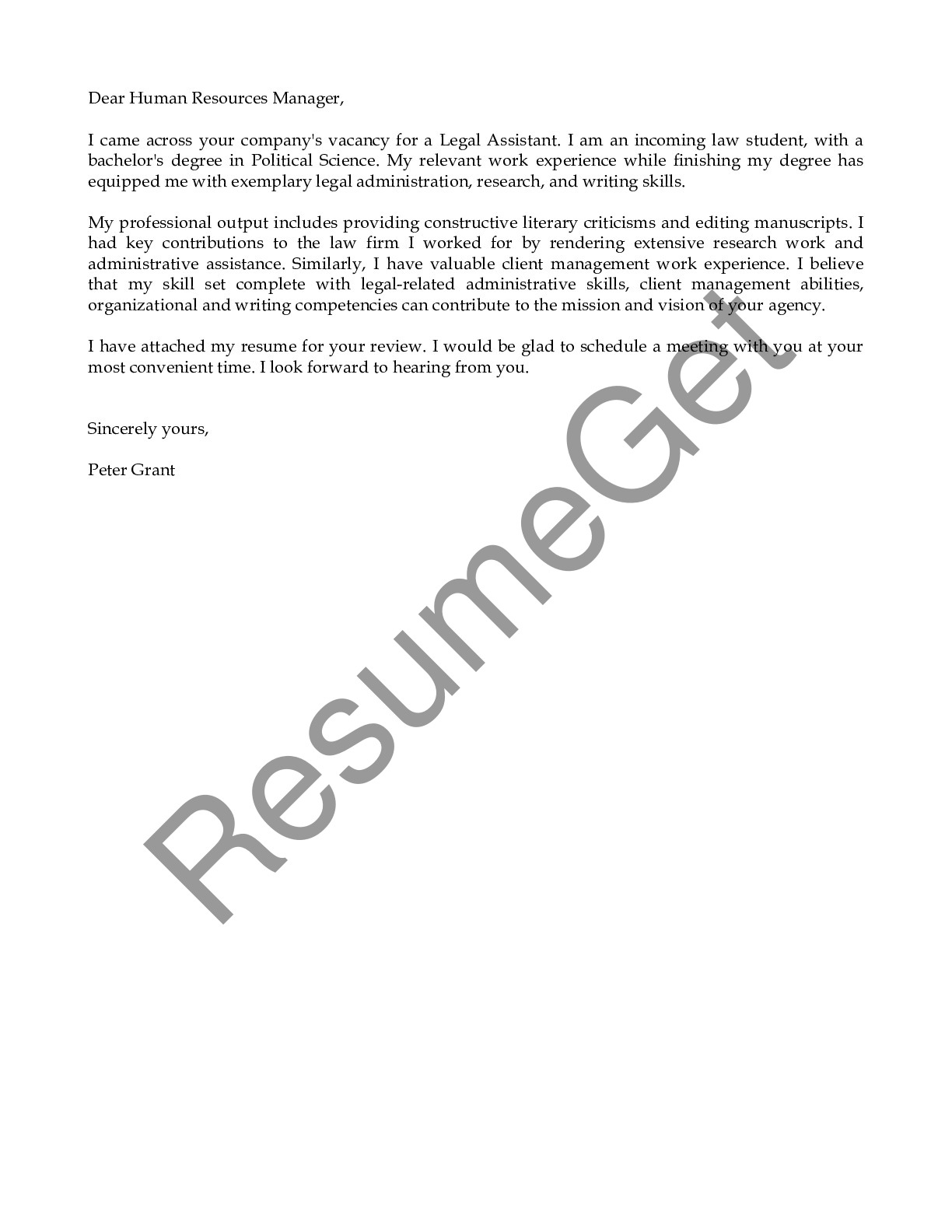 Email Cover Letter Example for Legal Assistant