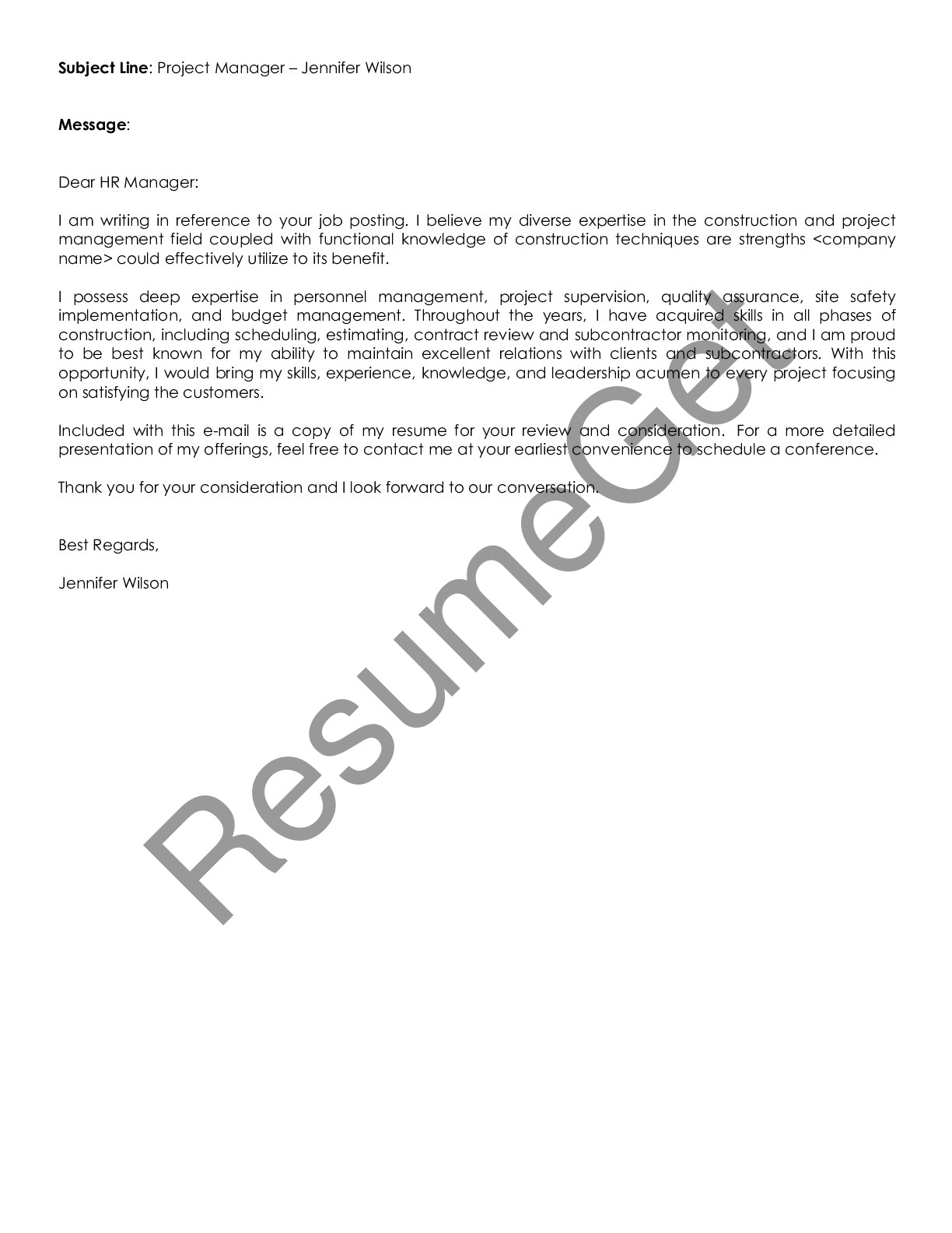 Email Cover Letter Example for Project Manager