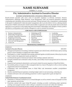 Resume Example for Executive Assistant