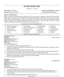 Resume Example for Firefighter