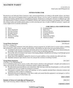 Resume for Fitness Instructor