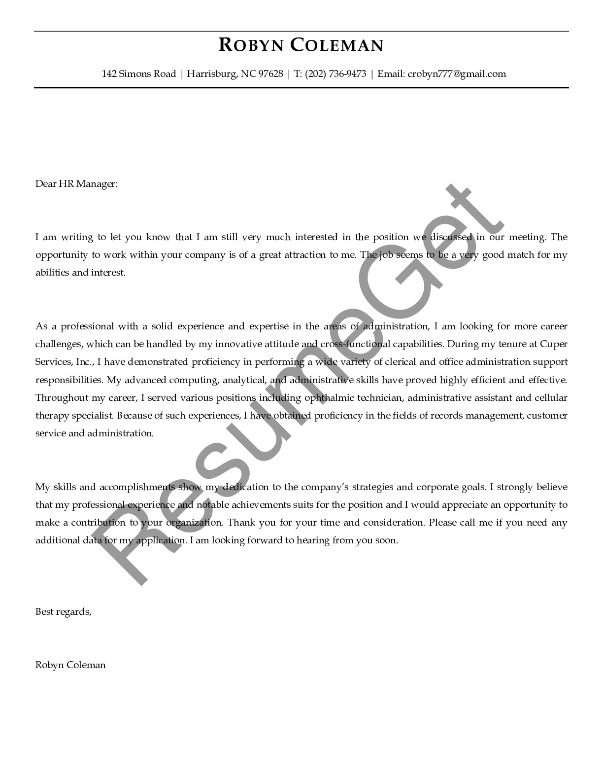 Follow Up Letter for Administrative Assistance