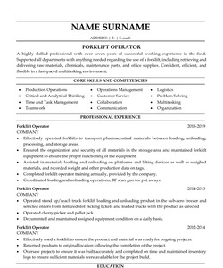 Resume Example for Forklift Operator