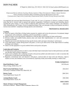 Resume Example for Hockey Coach