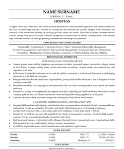 Resume for Hostess