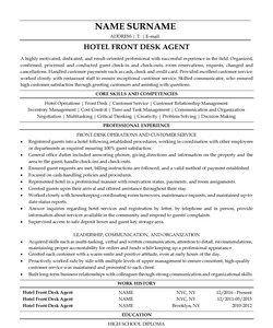Resume for Hotel Front Desk Employee