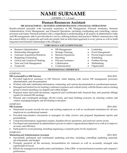 Resume Example for Human Resources Assistant