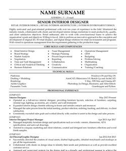 Resume Example for Interior Designer