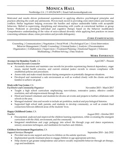 Resume Example for Juvenile Counselor