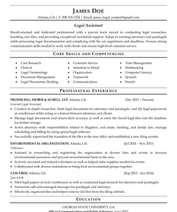 Resume Example for Legal Assistant