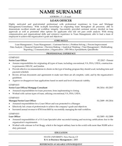 Resume Example for Loan Officer