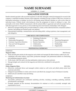 Resume for Magazine Editor