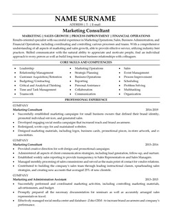 Resume for Marketing Consultant