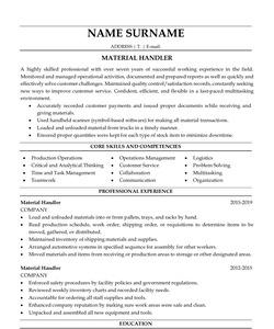 Resume Example for Material Handler