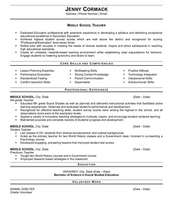 Resume Example for Middle School Teacher