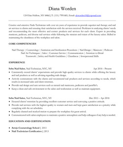 Resume Example for Nail Technician