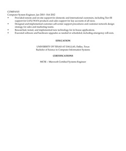 Resume Example for Network System analyst