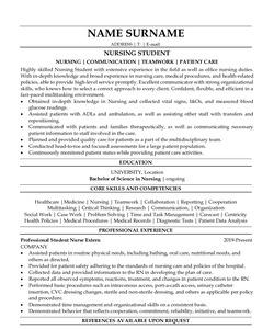 Resume Example for Nursing Student