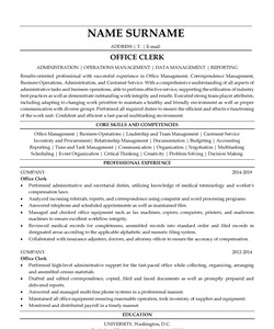 Resume Example for Office Clerk
