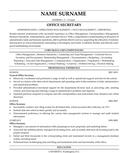 Resume Example for Office Secretary