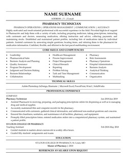 Resume for Pharmacy Technician
