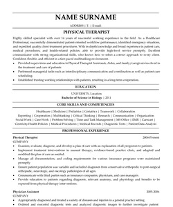 Resume Example for Physical Therapist