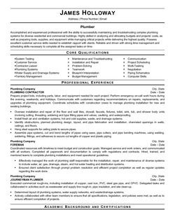 Resume Example for Plumber