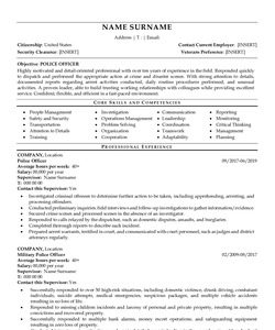 Resume for Police Officer