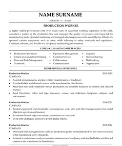 Resume Example for Production Worker