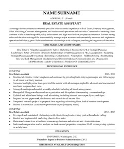 Resume for Real Estate Assistant