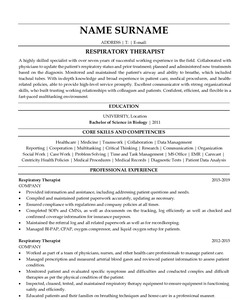 Resume for Respiratory Therapist