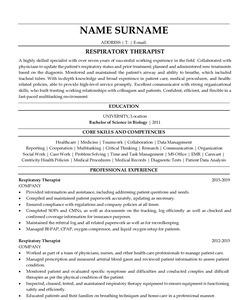 Resume Example for Respiratory Therapist