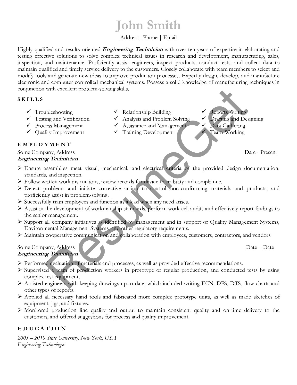 Resume for Engineering Technician