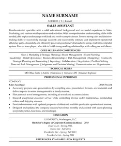 Resume Example for Sales Assistant