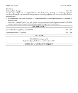 Resume Example for Sales Manager