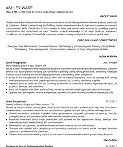 Resume Example for Salon Receptionist