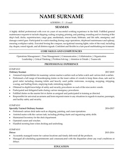 Resume Example for Seaman